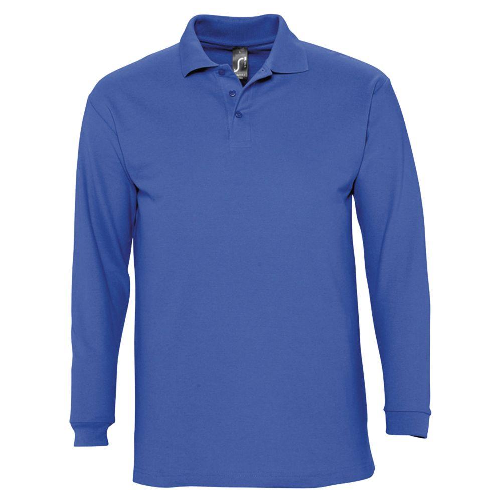 Рубашка поло мужская с длинным рукавом WINTER II 210 ярко-синяя, размер S
