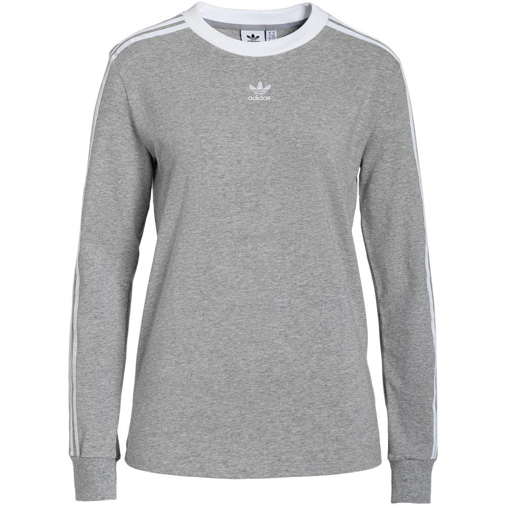 Футболка женская с длинным рукавом 3 Stripes LS, серый меланж, размер L
