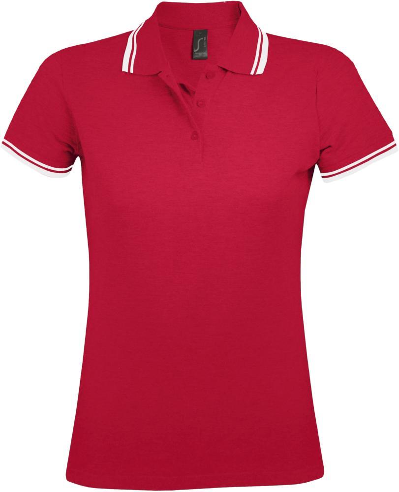 Фото - Рубашка поло женская PASADENA WOMEN 200 с контрастной отделкой красная с белым, размер XXL рубашка поло женская pasadena women 200 с контрастной отделкой черный зеленый размер xxl