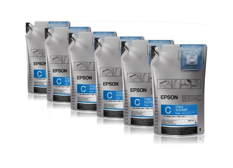 Фото - Набор контейнеров Epson T7412 Cyan 6x1000 мл (C13T773240) epson t9132 cyan 200 мл c13t913200