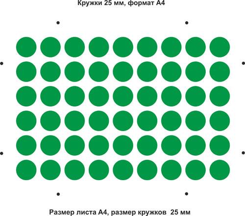 Вырубной штамп Кружки A4 25 мм 54 шт.