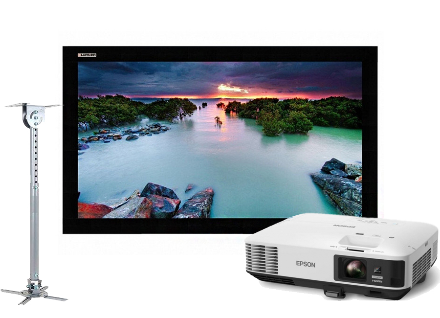 Фото - Проекционный экран Lumien Cinema Home 141x238 MW в комплекте с проектором Epson EB-1975W и креплением Wize WPC-W интерактивная доска touch 88 dry erase 10 касаний по activinspire в комплекте с проектором casio xj ut311w и креплением ym 81