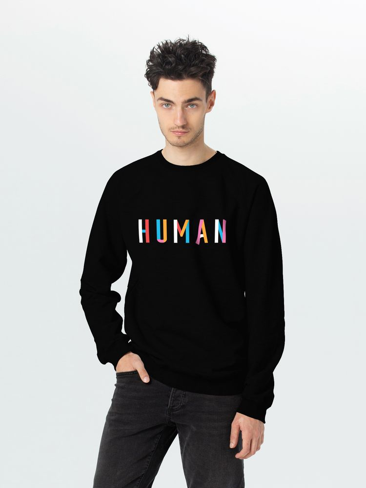 Свитшот Human, черный, размер XXL