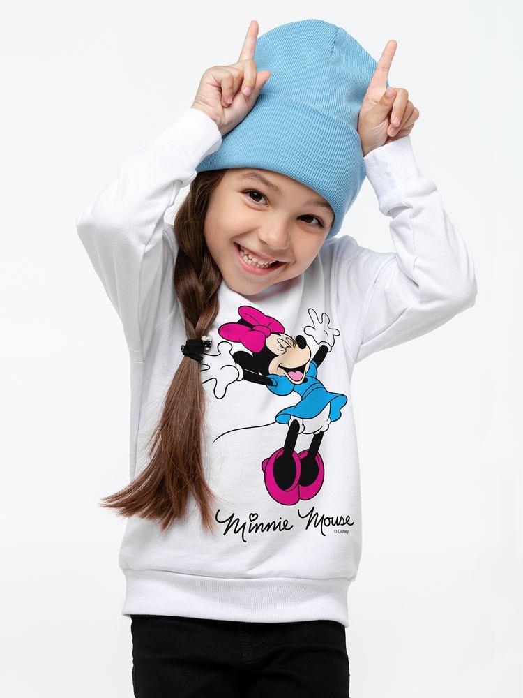 Свитшот детский «Минни Маус. So Happy!», белый, 6 лет (106-116 см) свитшот детский минни маус so happy белый 4 года 96 104 см