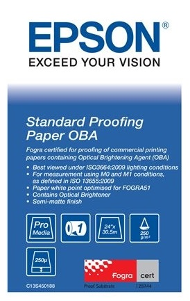Epson Standard Proofing Paper OBA 24, 250 г/м2, 0.610x30.5 м, 76 мм (C13S450188) proofing paper commercial 17 432мм х 30 5м 195 г м2 c13s042145