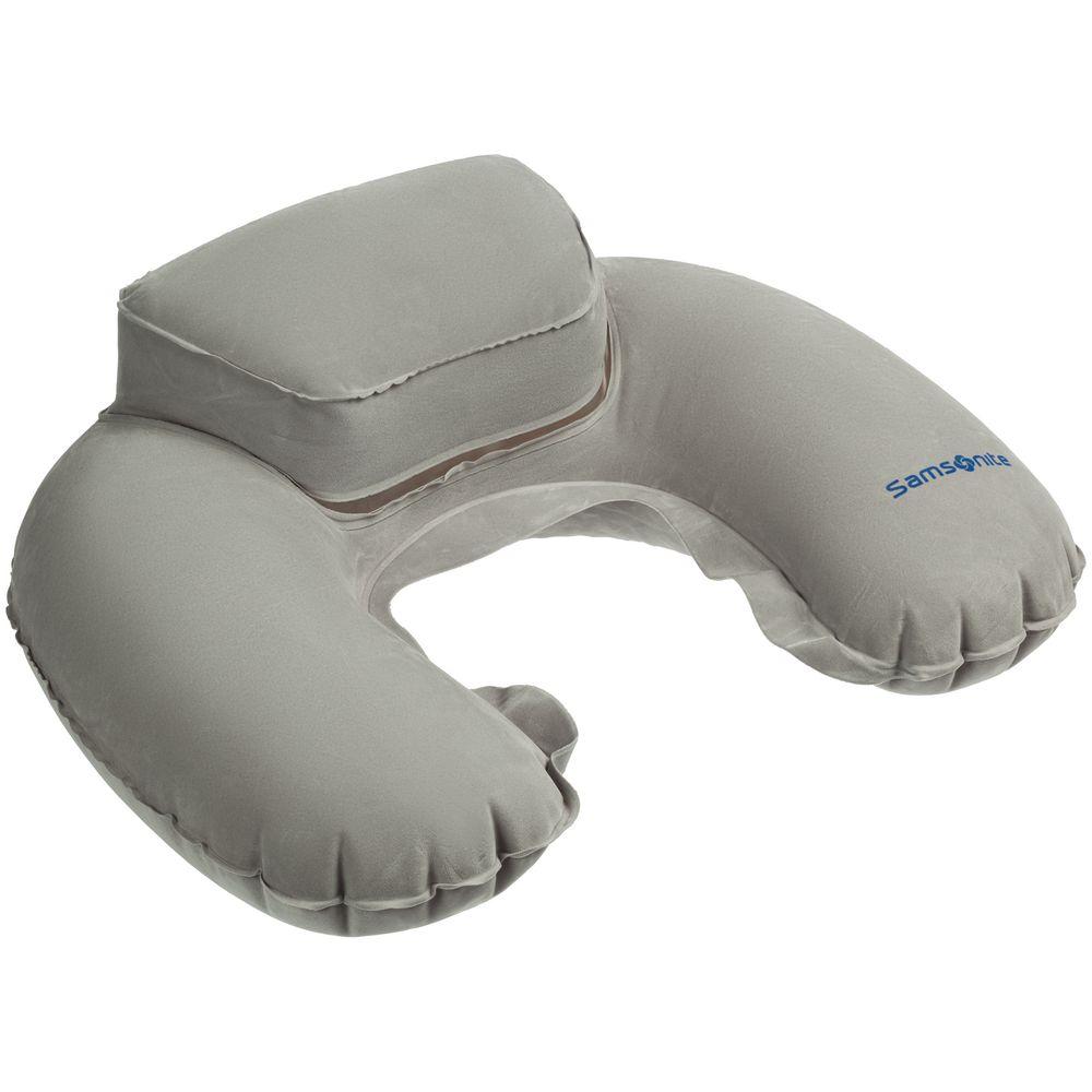 Надувная подушка Global TA с подголовником, серая