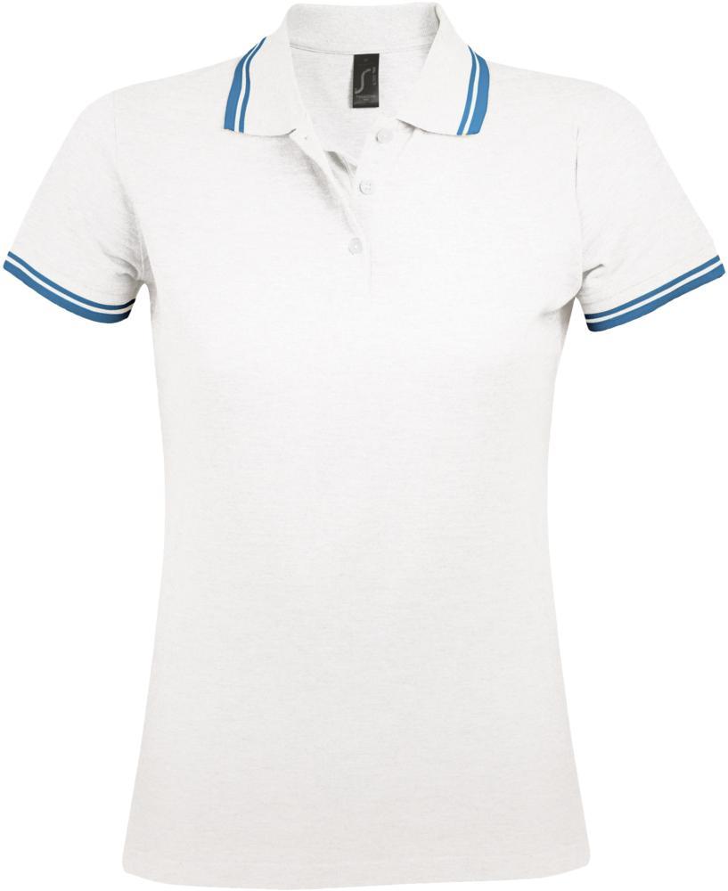 Фото - Рубашка поло женская PASADENA WOMEN 200 с контрастной отделкой белая с голубым, размер XXL рубашка поло женская pasadena women 200 с контрастной отделкой черный зеленый размер xxl