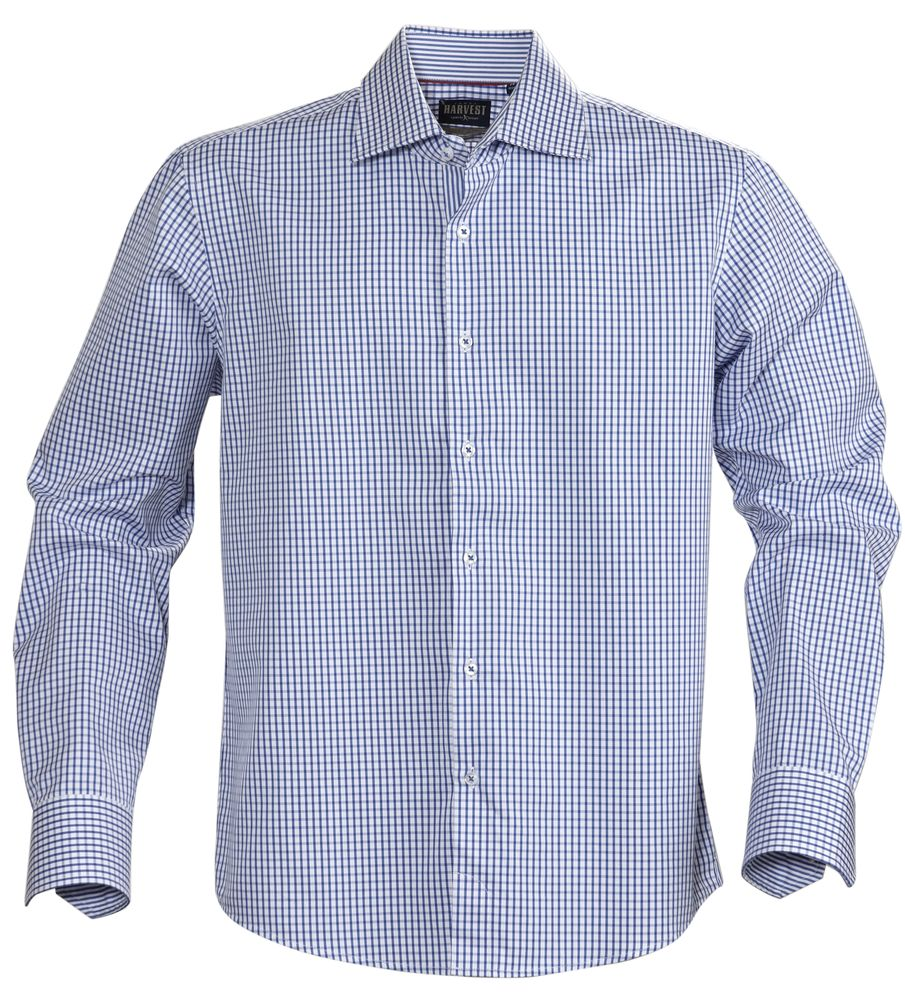 Рубашка мужская в клетку TRIBECA, синяя, размер L фото