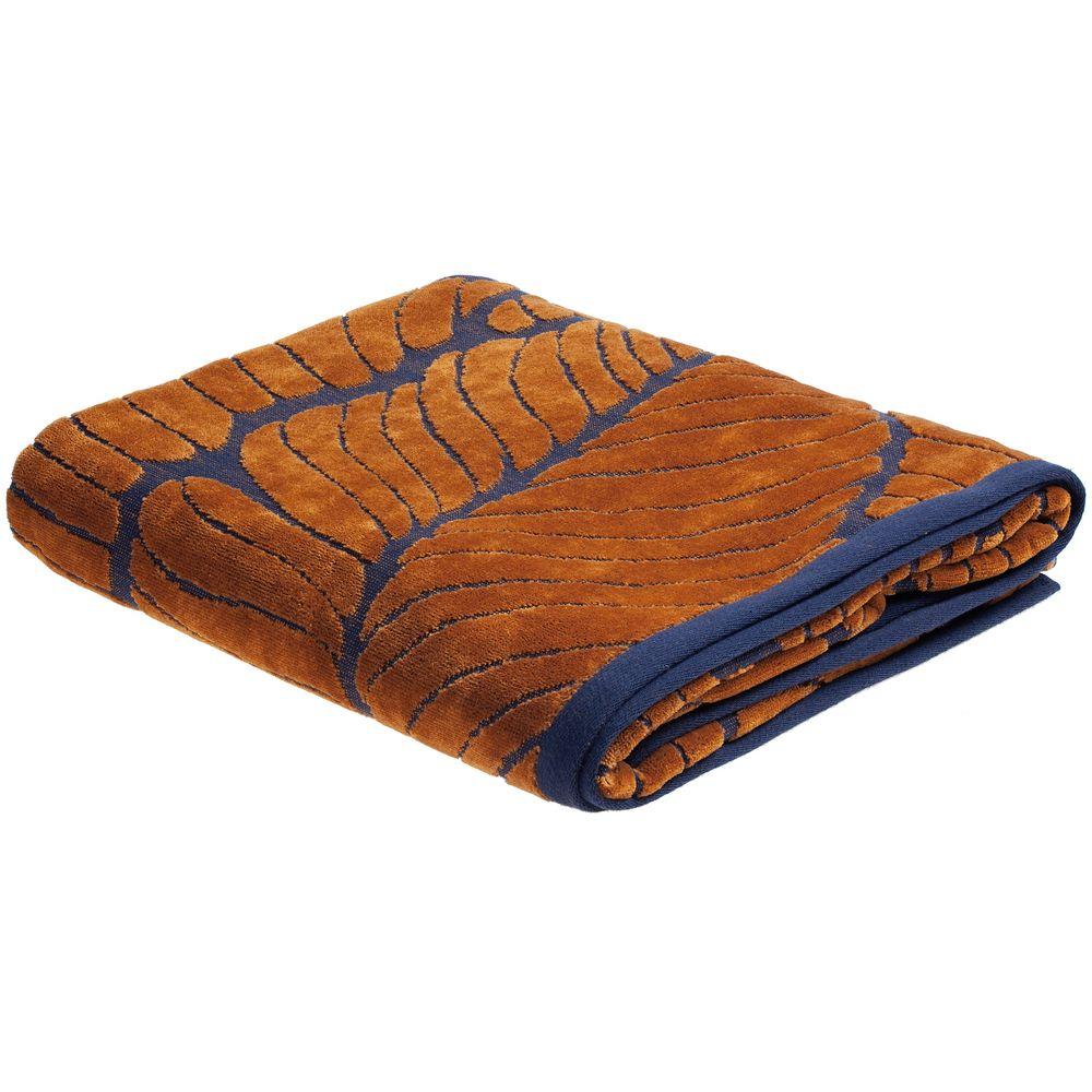 Полотенце In Leaf, большое, синее с горчичным полотенце с именной вышивкой синее