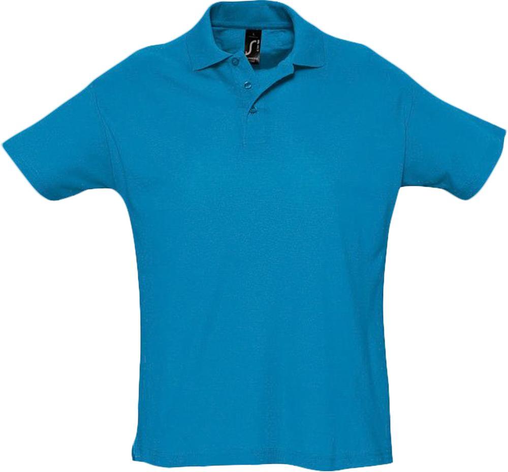 Рубашка поло мужская SUMMER 170 ярко-бирюзовая, размер XL