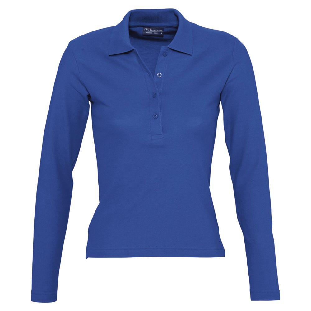 Фото - Рубашка поло женская с длинным рукавом PODIUM 210 ярко-синяя, размер M рубашка поло женская с длинным рукавом podium 210 темно зеленая размер m