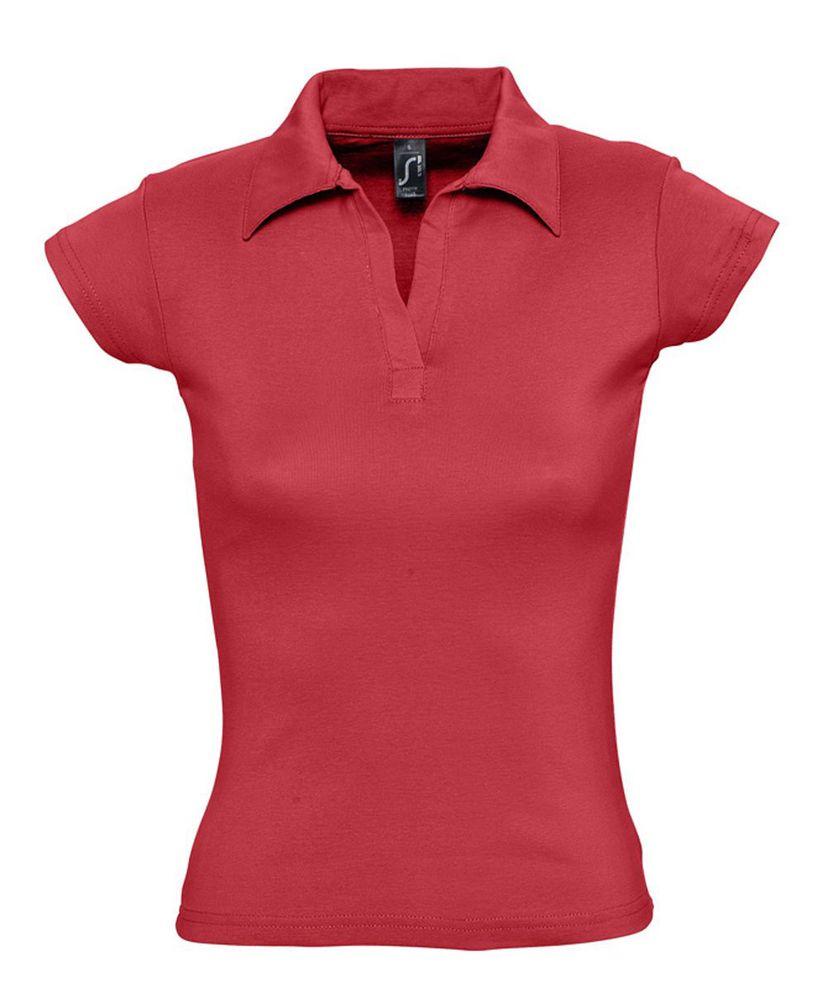 Рубашка поло женская без пуговиц PRETTY 220 красная, размер S
