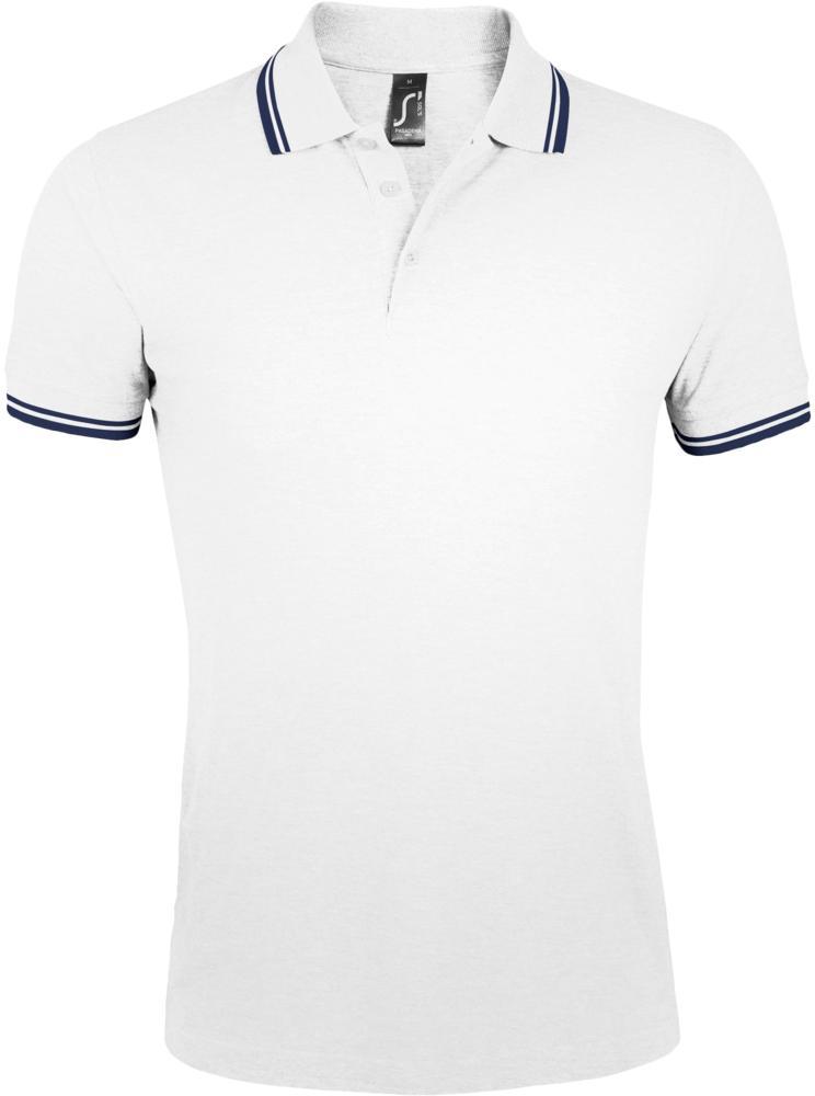 Рубашка поло мужская PASADENA MEN 200 с контрастной отделкой белая с синим, размер M фото