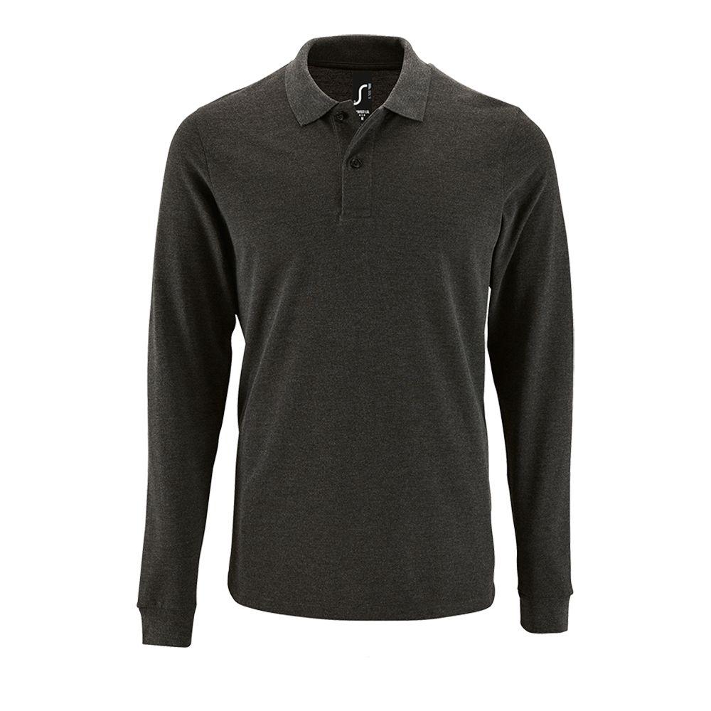 Рубашка поло мужская с длинным рукавом PERFECT LSL MEN черный меланж, размер M фото