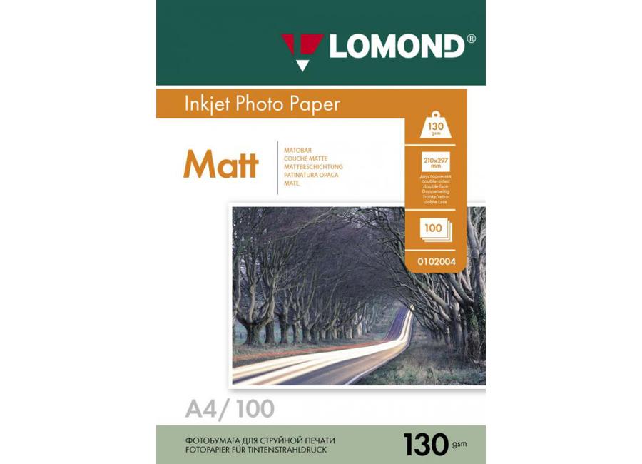 Фото - Lomond для струйной печати, A4, 130 г/м2, 100 листов, двусторонняя, матовая/матовая (0102004) бумага lomond a4 130г кв м двусторонняя матовая 0102004 100л