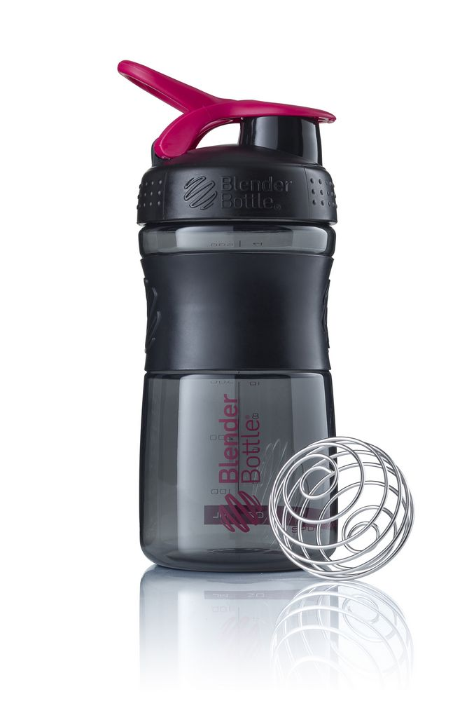 Спортивный шейкер SportMixer, черный с розовым (малиновым)
