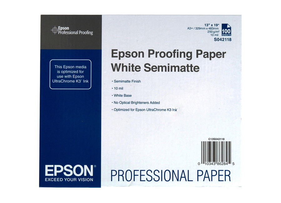 Epson Proofing Paper White Semimatte, A3+, 250 г/м2, 100 листов (C13S042118) proofing paper commercial 17 432мм х 30 5м 195 г м2 c13s042145