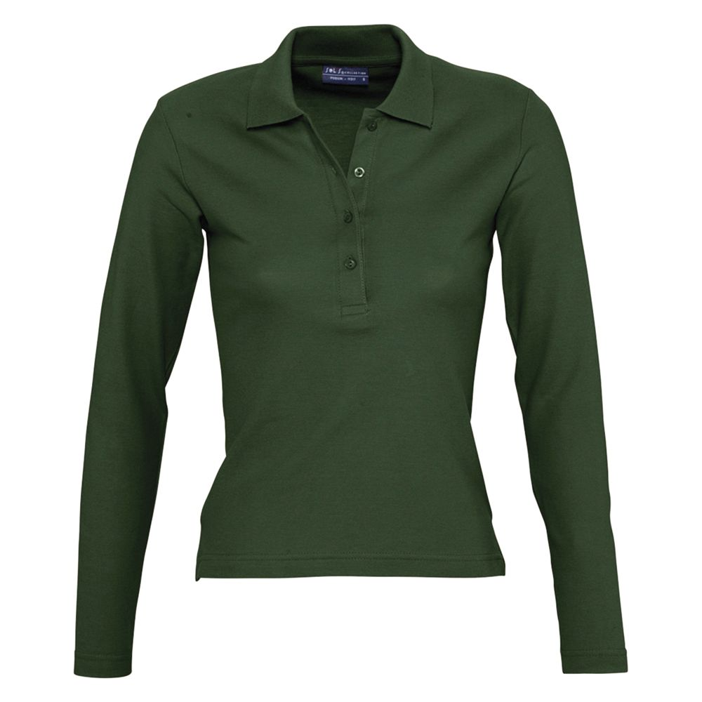 Фото - Рубашка поло женская с длинным рукавом PODIUM 210 темно-зеленая, размер XL рубашка поло женская с длинным рукавом podium 210 темно зеленая размер m