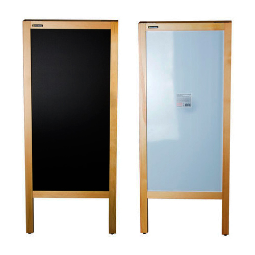 Двухсторонний меловой деревянный штендер 45x104 см с неокрашенной рамой (236156) штендер двусторонний office