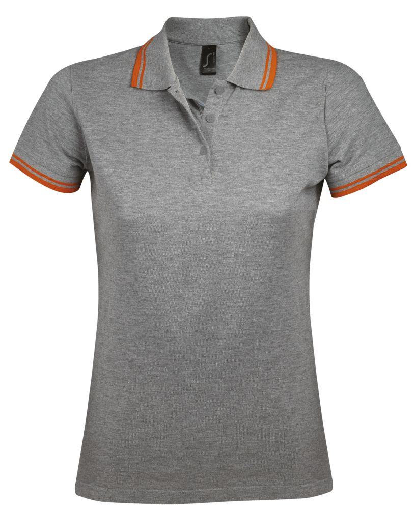 Фото - Рубашка поло женская PASADENA WOMEN 200 с контрастной отделкой, серый меланж/оранжевый, размер XXL рубашка поло женская pasadena women 200 с контрастной отделкой черный зеленый размер xxl