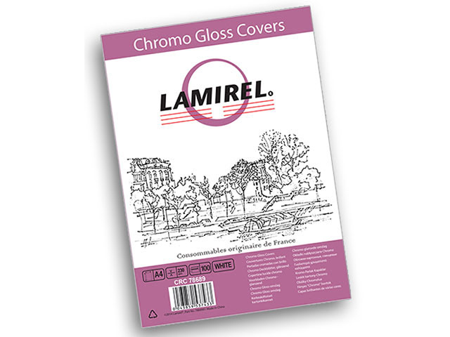 Фото - Обложка картонная Lamirel Chromolux, Глянец, A4, 230 г/м2, белый, 100 шт зеркальный шкаф 80х70 см белый глянец l am pm sensation m30mcl0801wg