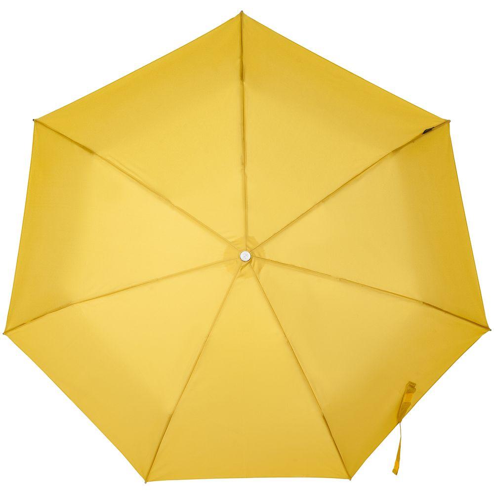 Складной зонт Alu Drop S, 3 сложения, 7 спиц, автомат, желтый (горчичный)