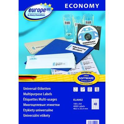Самоклеящиеся этикетки Europe100 ELA002 avery zweckform этикетки самоклеящиеся универсальные 105 х 41 мм 1400 шт 100 листов
