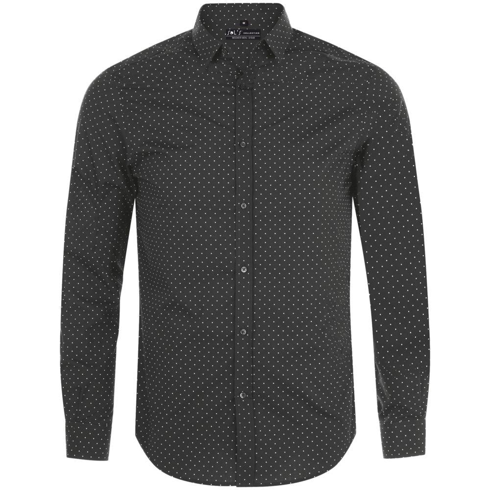 Рубашка мужская BECKER MEN, темно-серая с белым, размер S