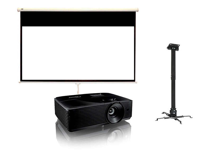 Экран ViewScreen Scroll 229x132 MW в комплекте с проектором Optoma W371 и креплением Fix P300L