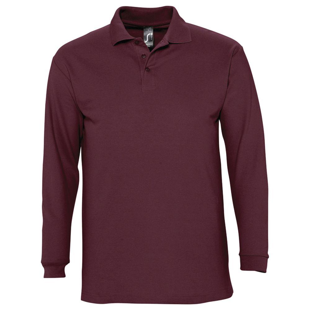 Рубашка поло мужская с длинным рукавом WINTER II 210 бордовая, размер S