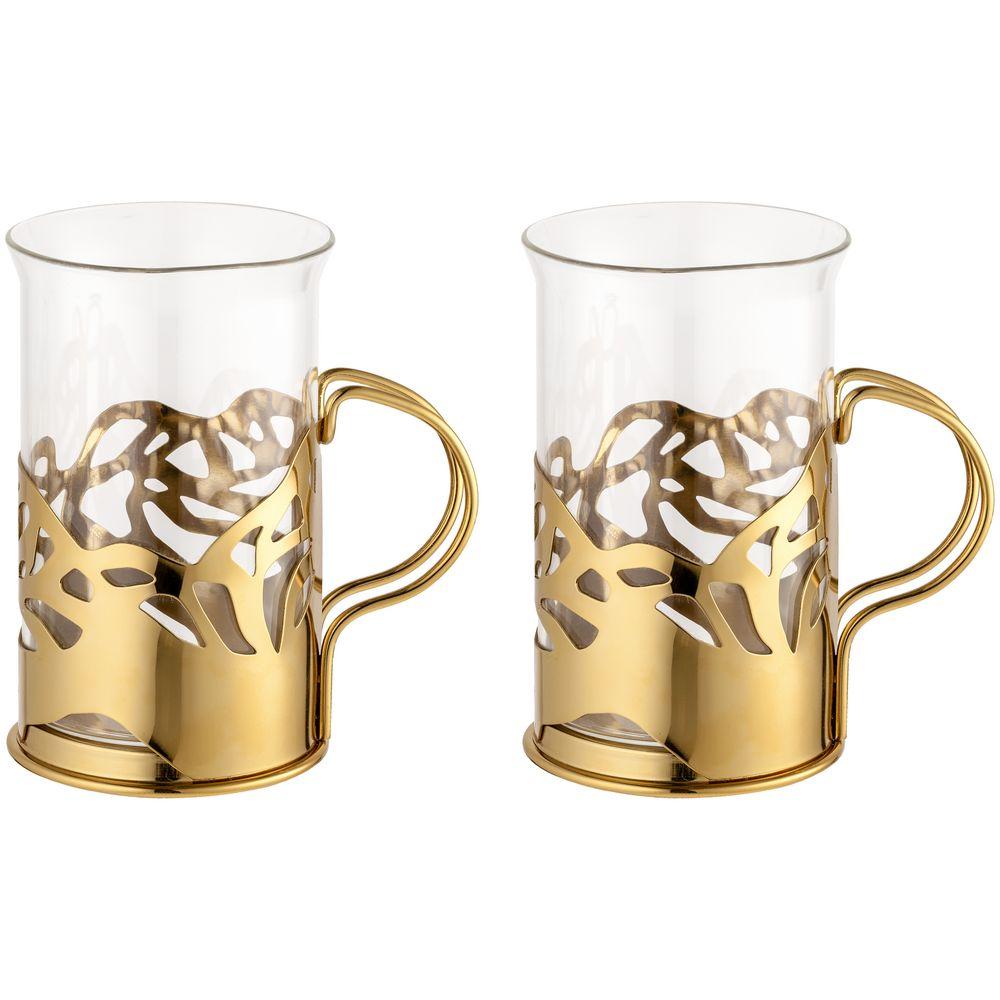 Набор стаканов в подстаканниках Cite, золотистый набор стаканов в подстаканниках cite золотистый