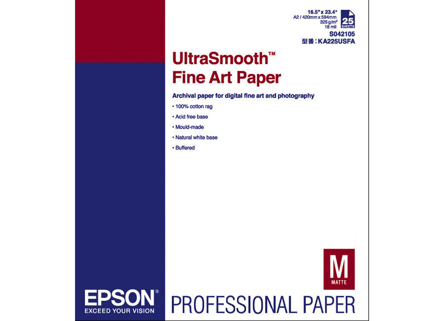 Epson Ultra Smooth Fine Art Paper A2, 325 г/м2, 25 листов (C13S042105) printio плакат a2 42×59 ленивец медитирует