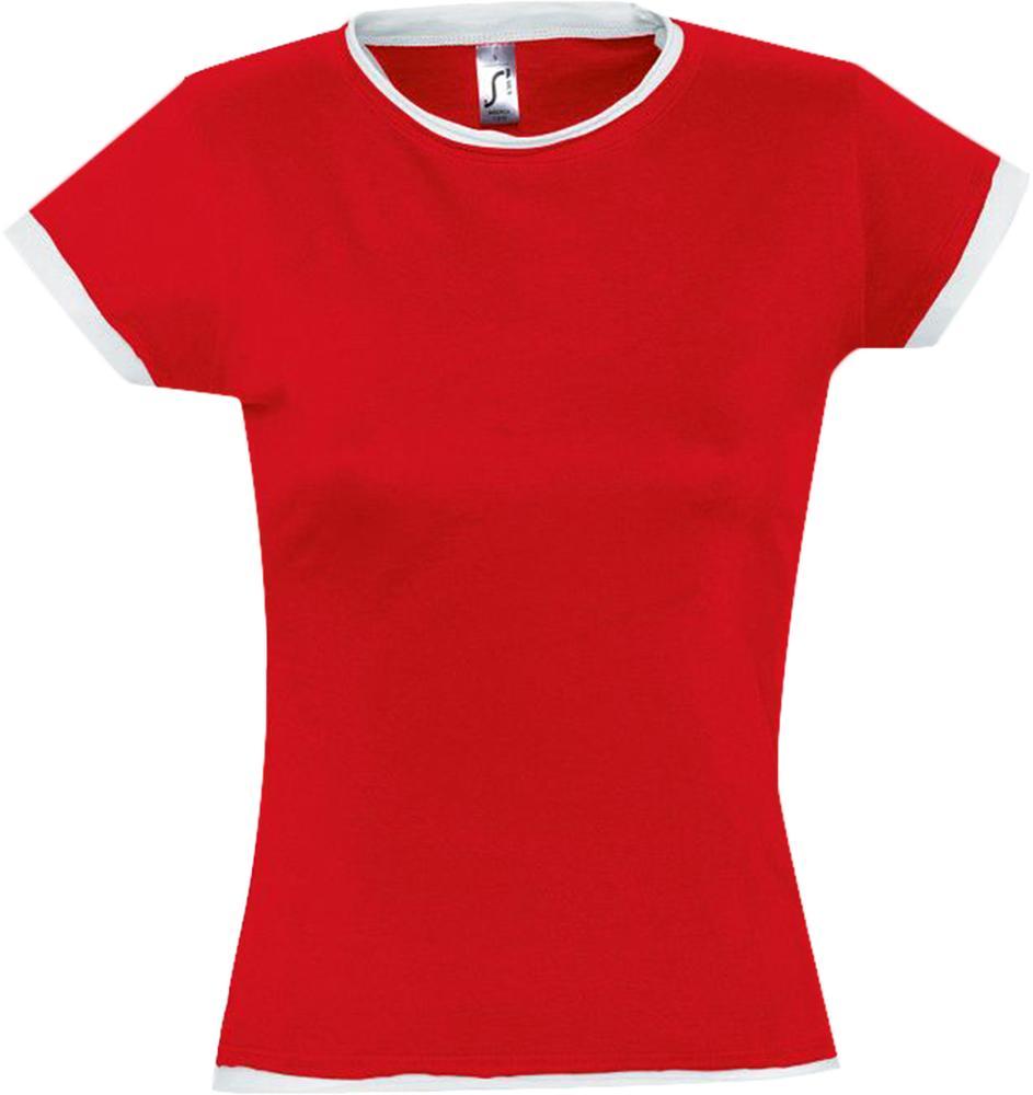 цена на Футболка женская MOOREA 170 красная с белой отделкой, размер M