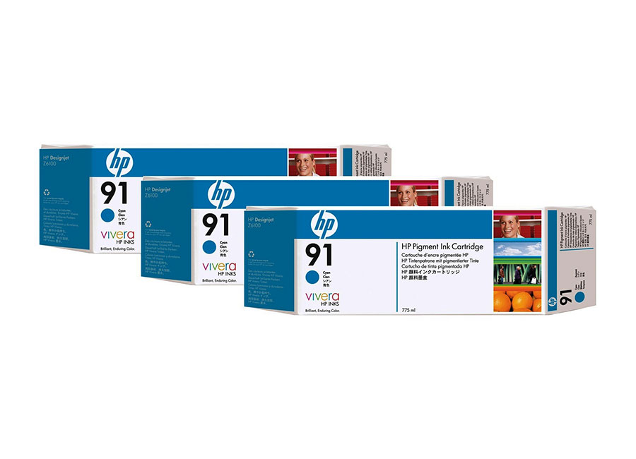 Набор картриджей HP Designjet 91 Cyan 3x775 мл (C9483A) обслуживающий картридж hp 91 c9518a для hp designjet z6100 z6100ps