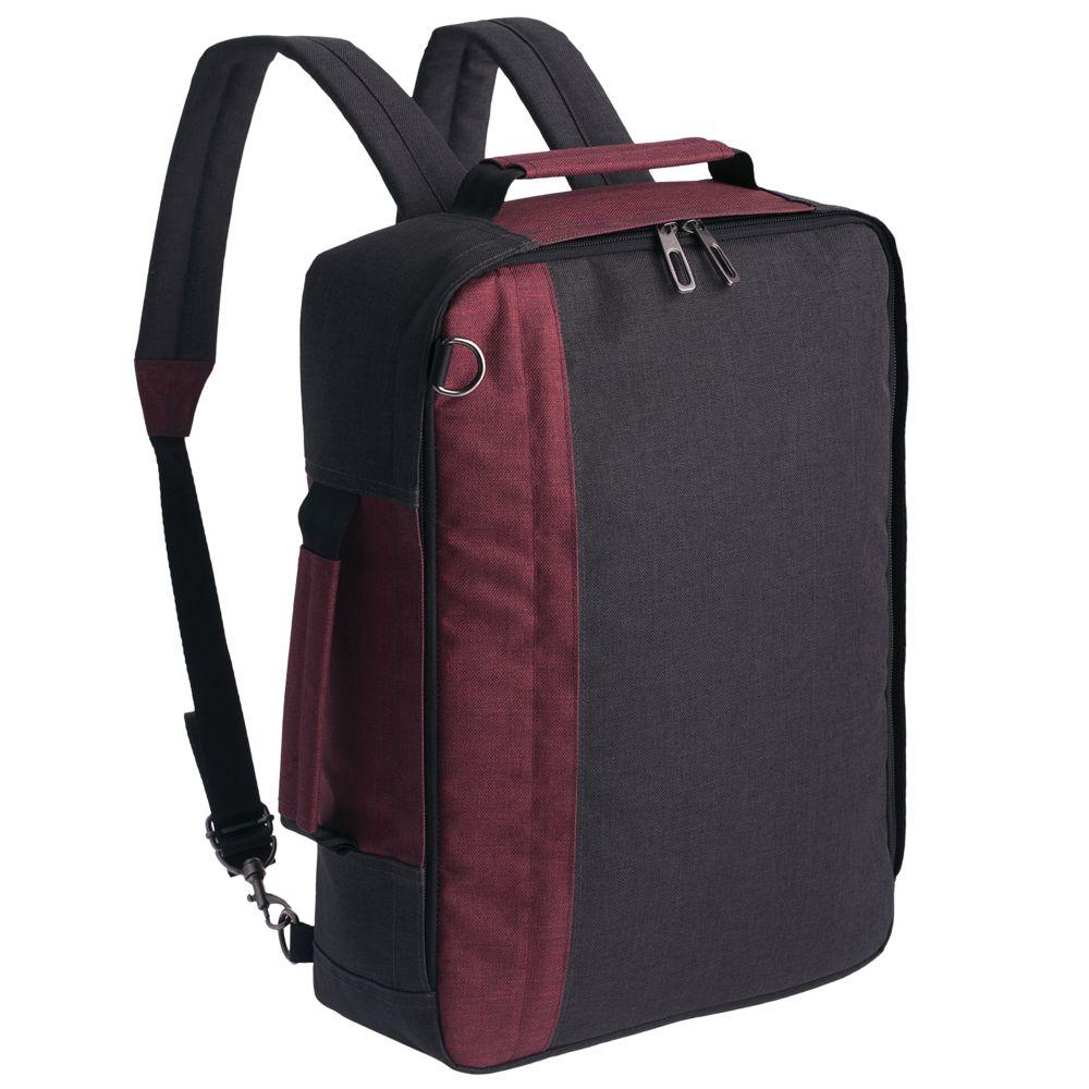 Рюкзак для ноутбука 2 в 1 twoFold, серый с бордовым рюкзак для ноутбука burst argentum серый с темно серым