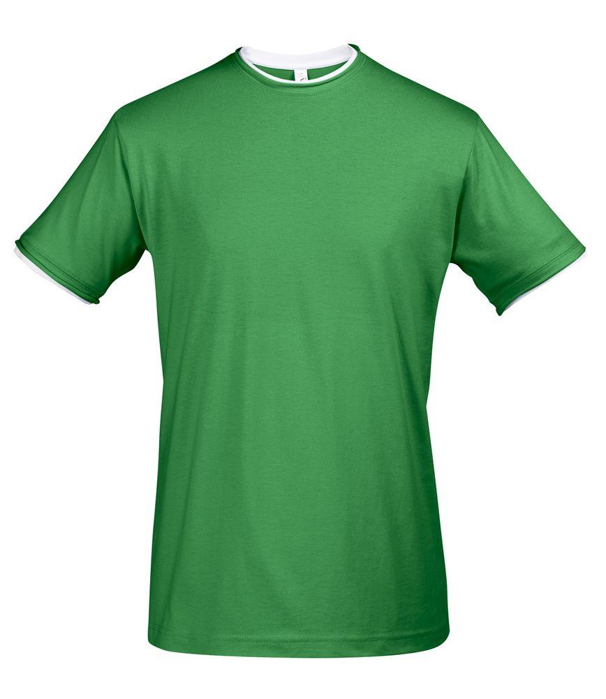 Футболка мужская с контрастной отделкой MADISON 170, насыщенный зеленый/белый, размер XL футболка мужская с контрастной отделкой madison 170 красный белый размер xxl