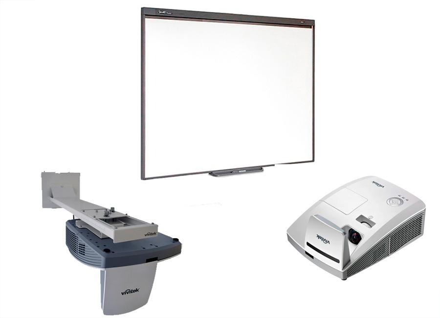 Комплект SBM787iv6S в составе: интерактивная доска SBM787V с пассивным лотком, проектор Vivitek DH772UST, оригинальное настенное крепление Vivitek WM-3