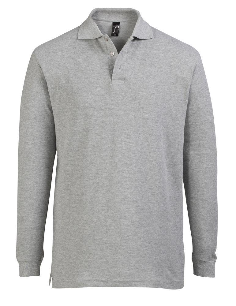 Рубашка поло мужская с длинным рукавом STAR 170, серый меланж, размер L