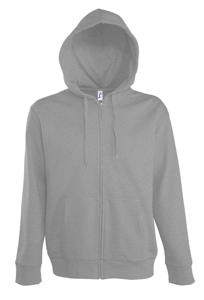 Толстовка мужская на молнии с капюшоном Seven Men 290, серый меланж, размер XXL