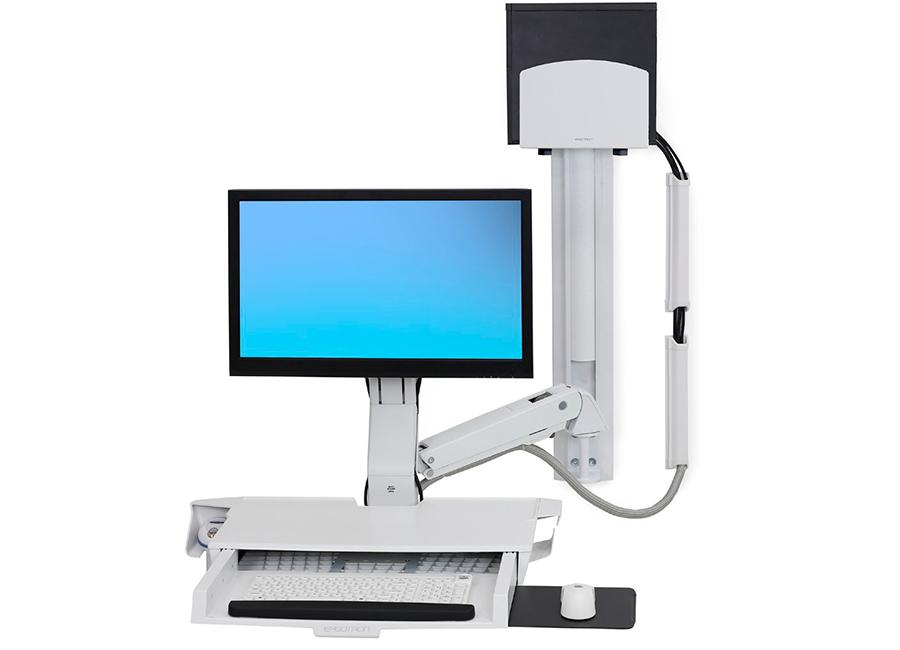 Купить Крепление, Ergotron «Рука» StyleView с рабочей поверхностью и средним держателем CPU (45-270-216), белое