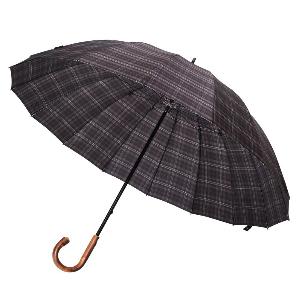 Зонт-трость Big Boss, серый в клетку цена и фото