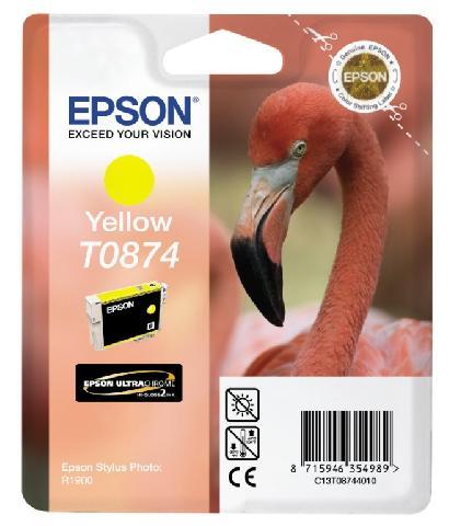 Фото - Картридж с желтыми чернилами Epson T0874 (C13T08744010) картридж с желтыми чернилами epson t0824 c13t11244a10
