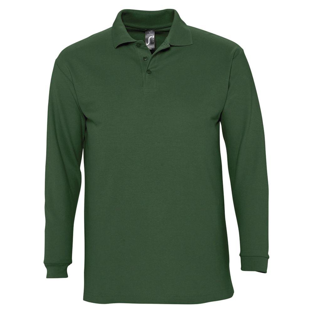 Рубашка поло мужская с длинным рукавом WINTER II 210 темно-зеленая, размер XXL