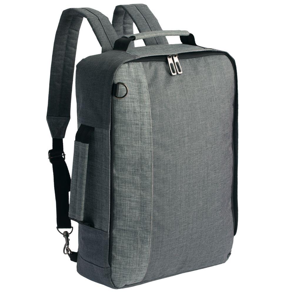 Рюкзак для ноутбука 2 в 1 twoFold, серый с темно-серым рюкзак для ноутбука burst argentum серый с темно серым