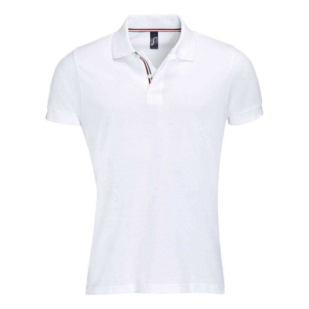 Рубашка поло мужская PATRIOT белая с красным, размер S