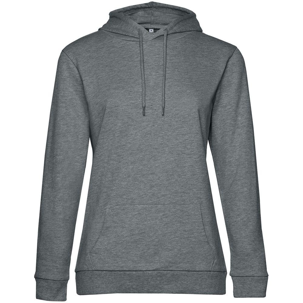 Толстовка с капюшоном женская Hoodie, темно-серый меланж, размер S комплект нижнего белья let s go размер 68 серый меланж темно серый