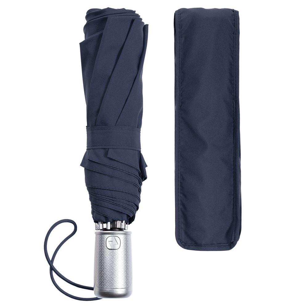 Складной зонт Alu Drop S, 3 сложения, 8 спиц, автомат, синий