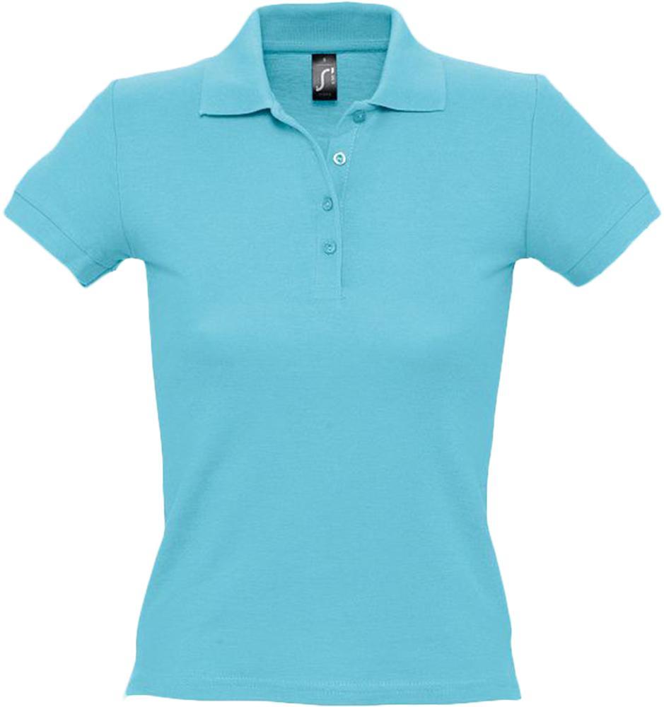 Рубашка поло женская PEOPLE 210 бирюзовая, размер S фото