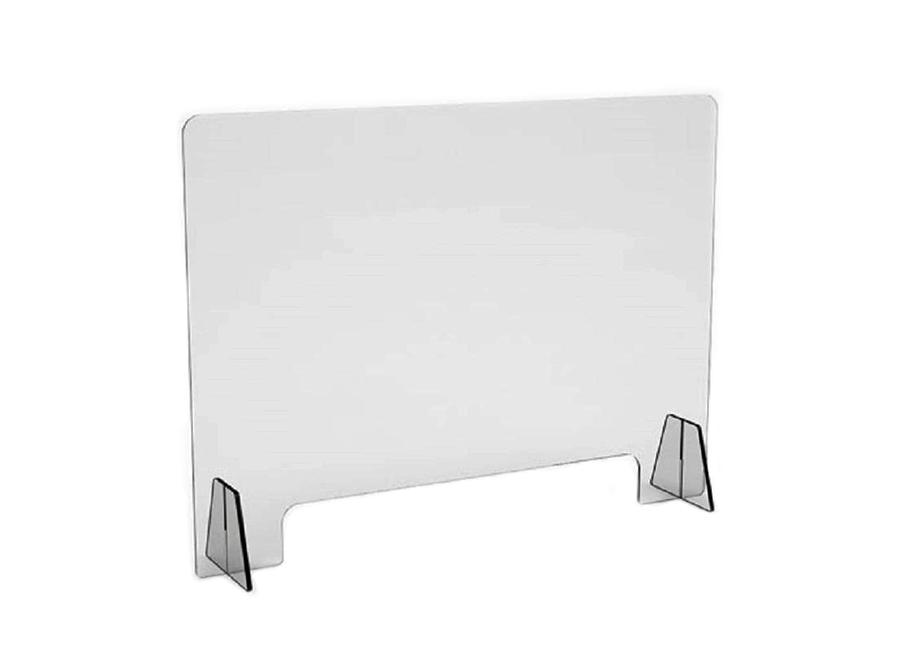 Прямой односекционный защитный экран с подставками, акрил, 60x80 см, 3 мм