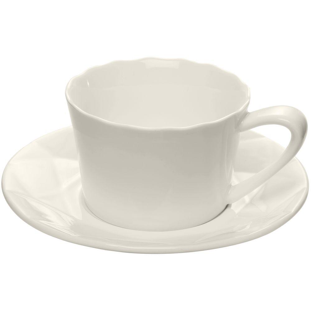 Чайная пара Diamante Bianco, белая чайная пара старая в з